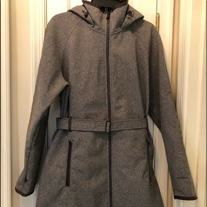 Gray North face wind wall coat